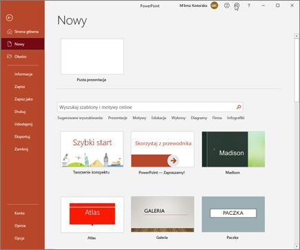 Tworzenie nowej prezentacji w programie PowerPoint