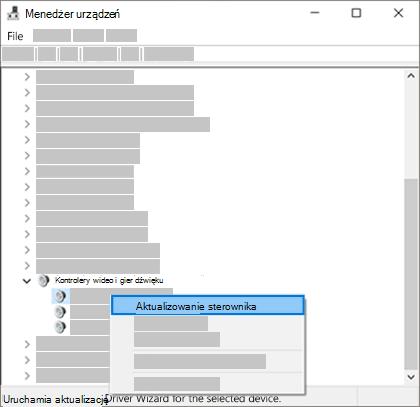 Kliknij prawym przyciskiem myszy pozycję Lista urządzeń i wybierz pozycję Aktualizuj sterownik