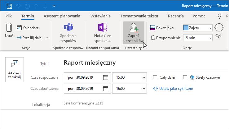 Planowanie terminu w programie Outlook