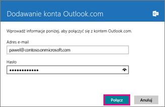 Strona Dodawanie konta Outlook w aplikacji Poczta systemu Windows 8