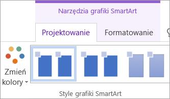 Przycisk Zmień kolory na karcie Projektowanie w obszarze Narzędzia grafiki SmartArt