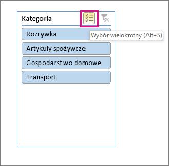 Opcje fragmentatora z wyróżnionym przyciskiem wielokrotnego wyboru