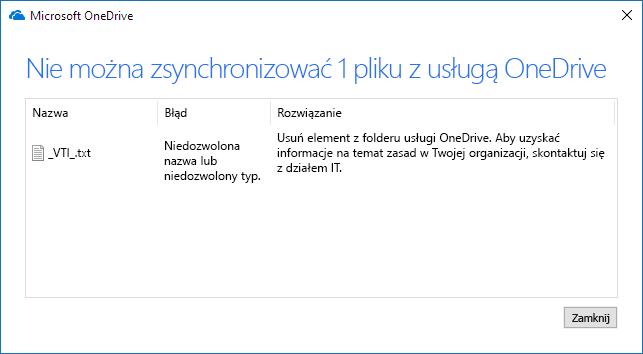 """""""Nie można zsynchronizować pliku"""" w usłudze OneDrive"""