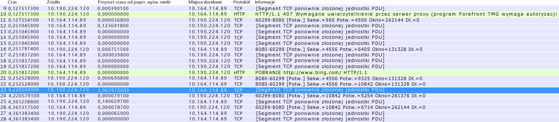 """W programie Wireshark: kolumna """"Time delta from previous displayed frame"""" (Zmiana czasu względem poprzednio wyświetlonej ramki) może zostać utworzona przez kliknięcie prawym przyciskiem myszy pola o takiej samej nazwie w oknie szczegółów ramki i wybranie pozycji Add as Column (Dodaj jako kolumnę)."""