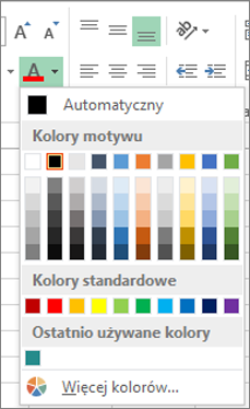 Selektor kolorów czcionki