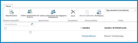 Zrzut ekranu przedstawiający wstążkę w standardowym widoku typu zawartości zewnętrznej usług łączności biznesowej.