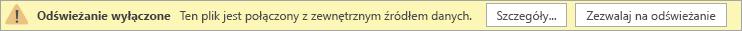 Komunikat alertu w publicznej wersji Preview aplikacji Visio Online, informujący, że odświeżanie jest wyłączone.