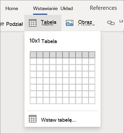 Wstawianie tabel w programie Word dla sieci Web