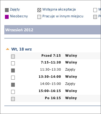 Przykładowy kalendarz udostępniany w wiadomości e-mail