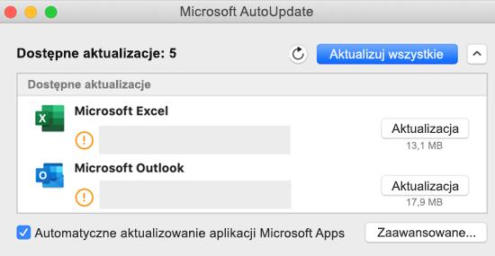 Obraz pulpitu nawigacyjnego programu Microsoft AutoUpdate z informacjami o aktualizacjach.