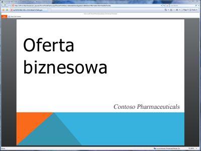 Emisja pokazu slajdów oglądana w przeglądarce
