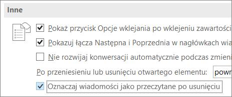 Pole wyboru Oznaczaj wiadomości jako przeczytane po usunięciu w oknie dialogowym Opcje programu Outlook