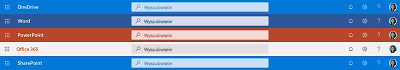 Zrzut ekranu przedstawiający okno wyszukiwania w górnej części kilku aplikacji