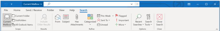 Użyj funkcji Pole wyszukiwania, znajdującego się u góry ekranu z funkcją Wstążka klasyczna