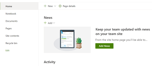 Widok Strona główna witryny zespołu w SharePoint nowoczesne środowisko obsługi.