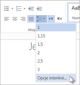 Menu Interlinia w aplikacji Word Web App