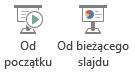 Można rozpocząć pokaz slajdów od początku lub od bieżącego slajdu