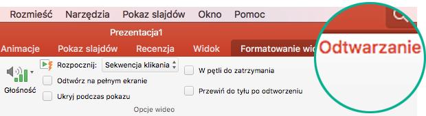 Po zaznaczeniu klipu wideo na slajdzie zostanie wyświetlona karta Odtwarzanie na wstążce z paskiem narzędzi, która umożliwia ustawianie opcji odtwarzania wideo.