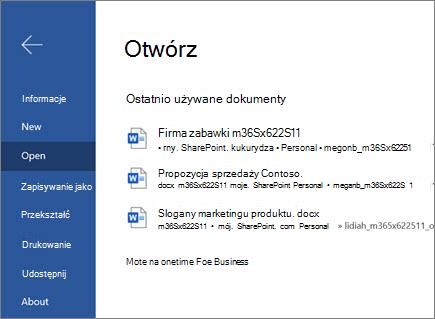 Otwieranie dokumentu w programie Word