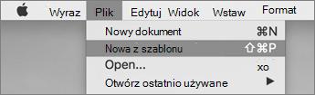 W menu Plik kliknij przycisk Nowy z szablonu.