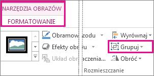 Przycisk Grupuj na karcie Narzędzia obrazów > Formatowanie