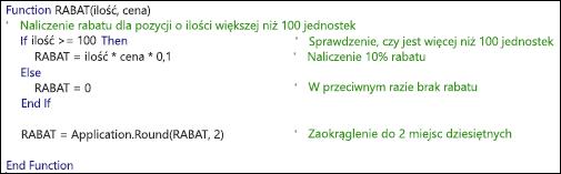 Przykładowa funkcja języka VBA z komentarzami