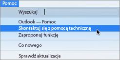 Menu Pomoc z opcją Kontakt z pomocą techniczną