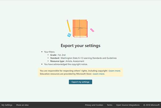 Obraz przycisku Ustawienia eksportu