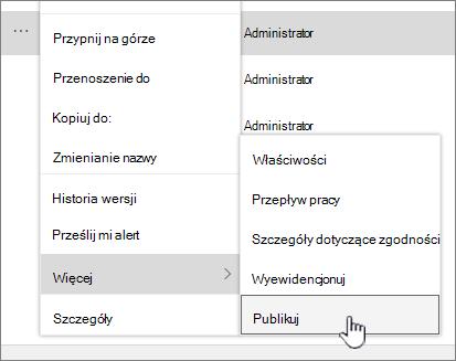 Kliknij przycisk Publsh, aby opublikować wersję pomocniczą