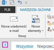 Kliknij strzałkę, aby rozwinąć okienko folderów.