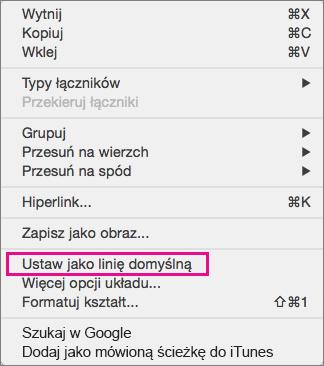Opcje menu po kliknięciu wiersza z wciśniętym klawiszem Control