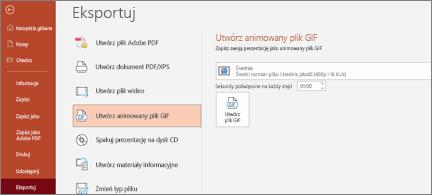 Strona Plik > Eksportuj z wyróżnioną pozycją Tworzenie animowanego obrazu GIF