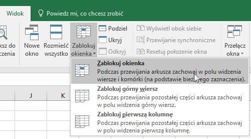 Blokowanie Okienek W Celu Zablokowania Wierszy I Kolumn Excel
