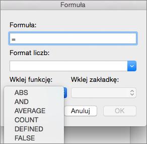 Wybieranie funkcji z listy Wklej funkcje w oknie dialogowym Formuła