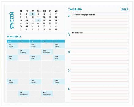 Szablon kalendarza tygodniowego dla uczniów (Excel)