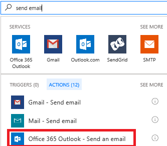 Zrzut ekranu: Wybieranie akcji: Office 365 Outlook - wysyłanie wiadomości e-mail
