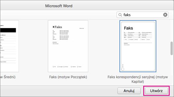"""Aby utworzyć stronę tytułową faksu, wyszukaj pozycję """"faks"""", wybierz szablon, a następnie kliknij przycisk Utwórz."""