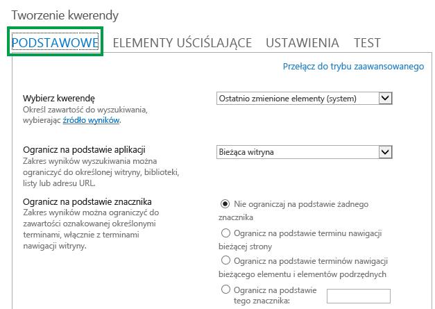 Karta PODSTAWOWE podczas konfigurowania kwerendy w składniku Web Part przeszukiwania zawartości