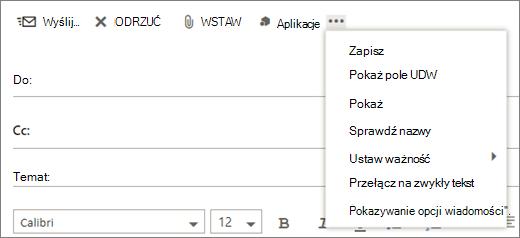 Zrzut ekranu przedstawia dostępne polecenie Więcej opcji na pasku narzędzi wiadomości poczty.