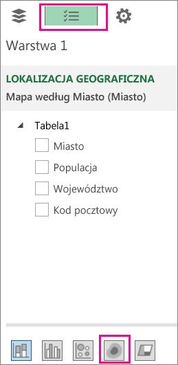 Ikona mapy ciepła na karcie Lista pól