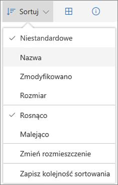 Zrzut ekranu przedstawiający menu Sortuj w usłudze OneDrive