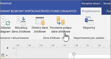 Przycisk Połącz ponownie dane źródłowe na wstążce