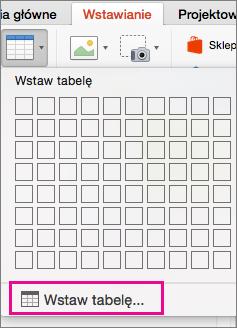 Opcja menu Wstaw tabelę