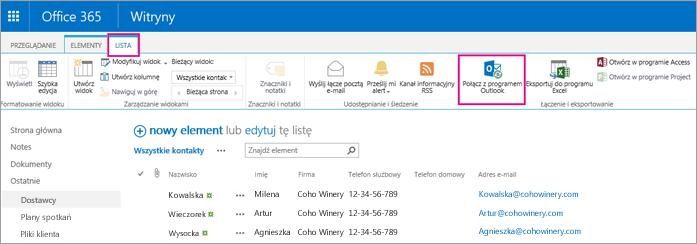 Wybieranie pozycji Połącz z programem Outlook w celu zsynchronizowania listy kontaktów z programem Outlook