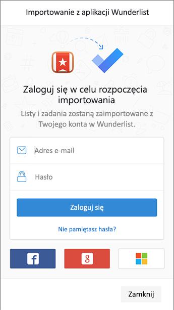 Zrzut ekranu przedstawiający zadanie do wykonania z ekranem logowania w usłudze Wunderlist Open (importer).