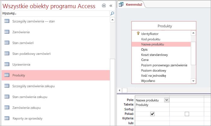 Zrzut ekranu przedstawiający widok Wszystkie obiekty programu Access