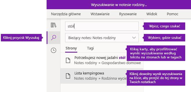 Opcje okienka wyszukiwanie w programie OneNote dla systemu Windows 10