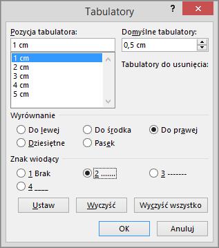 Opcje w oknie dialogowym Tabulatory.