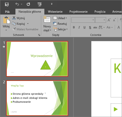 Program PowerPoint 2016 z zastosowanym motywem Ciemnoszary