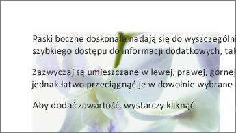Przykład obrazu znajdującego się za blokiem tekstu